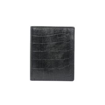 Bifold black wallet for men GNR 1102 front (leathermanfashion)