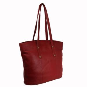 Red Ladies Leather Tote K1010B side (leathermanfashion)