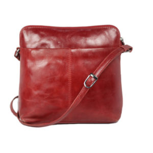 Genuine Leather Red Sling Bag ML04 back (leathermanfashion)