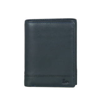 Trifold navy leather wallet NR-1005 front (leathermanfashion)