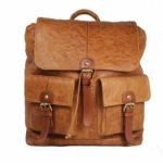 Tan Unisex Leather Backpack NR0043 front (leathermanfashion)