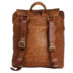 Tan Unisex Leather Backpack NR0043 back (leathermanfashion)