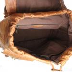 Tan Unisex Leather Backpack NR0043 inside (leathermanfashion)