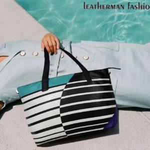Print Black Leather Handbag