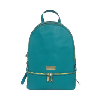 Turquoise Leather Backpack RKS1718-05 front (leathermanfashion)