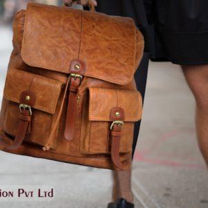 Tan Unisex Leather Backpack NR0043 model (leathermanfashion)