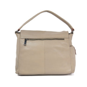 Taupe Tan Leather handbag VT 159 back (leathermanfashion)