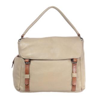 Taupe Tan Leather handbag VT 159 front (leathermanfashion)