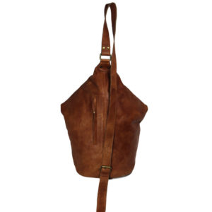 Tan Rucksack Leather Bag VT-274 back (leathermanfashion)
