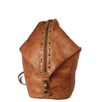 Tan Rucksack Leather Bag VT-274 front (leathermanfashion)