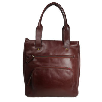 Brown Leather Tote b197 front (leathermanfashion)