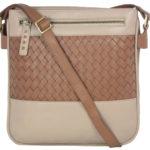 Leatherman Fashion Leather Beige Sling Bag B192 front