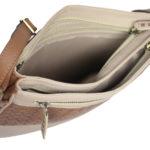 Leatherman Fashion Leather Beige Sling Bag B192 inside