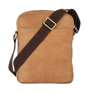 Leatherman Fashion Men's Tan Leather Crossbody bag RTL30 back