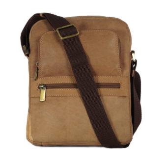 Leatherman Fashion Men's Tan Leather Crossbody bag RTL30 front