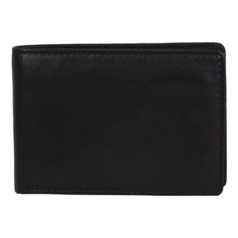 Men Black Genuine Leather Wallet-P-2 front Leatherman fashion