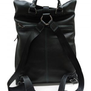 genuine leather unisex black backpack TG-2075 black back