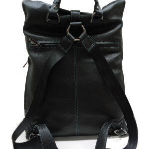 genuine leather unisex black backpack TG-2075 black back