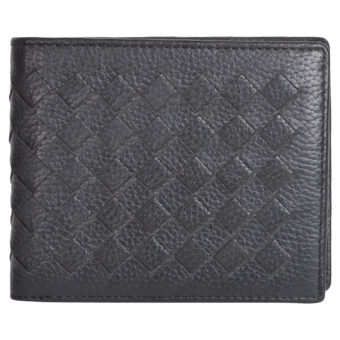 Genuine Leather Woven Design Black Unisex Wallet