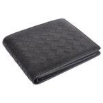 Genuine Leather Woven Design Black Unisex Wallet laydown