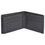Genuine Leather Woven Design Black Unisex Wallet inside