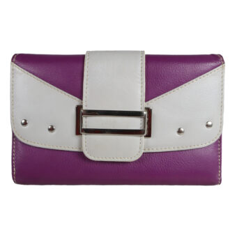 leather purple light grey ladies wallet front side