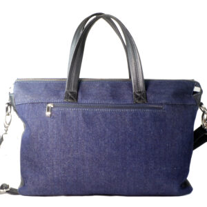 denim blue hand messenger bag back