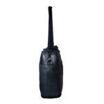 unisex navy black hand messenger bag side