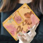 Printed yellow leather pruse LMN_WALLET_3681_MULTIYELLOW_BC5645