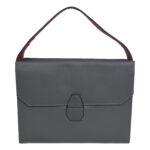 Leather Grey Handbag LMN_HANDBAG_B_109_GREY_RED_BC5645