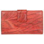 Genuine Leather Women's Red Wallet 8 Card Slots