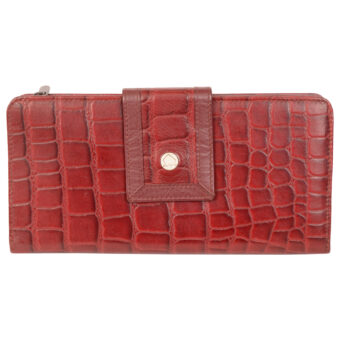Genuine Leather Women Red Wallet 12 Card Slots