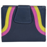 Genuine Leather Women's Navy Blue Multicolored Wallet 4 Card Slots