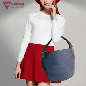 Genuine Leather Girls Blue, Grey Hobo Bag model LMN_HOBO_FI032020_BLUE_GREY
