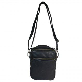 Genuine Leather Men's Black Sling Bag 6046