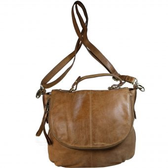 Leather Tan Sling Bag For Women