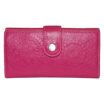 Genuine Leather Pink Women's Wallet 11 Card Slots