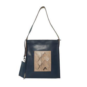 Women Beige Blue Shoulder Bag