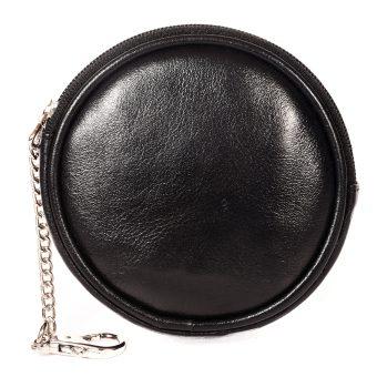 Genuine Leather Unisex Black Coin Case 50697