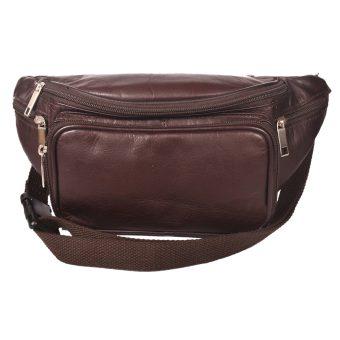 Genuine Leather Unisex Brown Belt Bag 00012028
